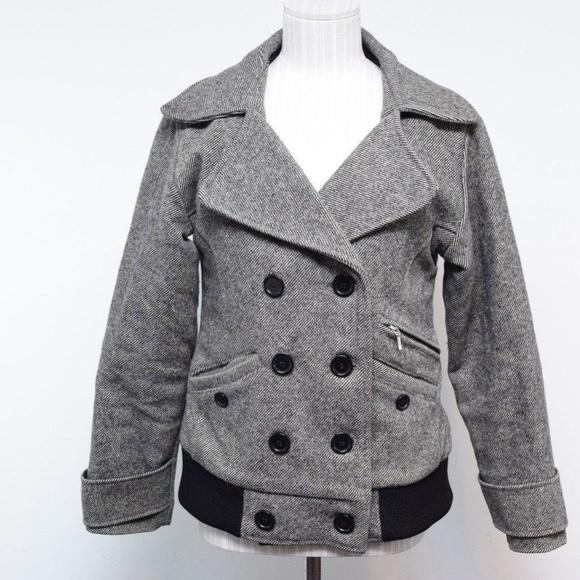 d006fee0c Filson XS Women Pea Coat Striped Wool Black White